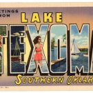 LAKE TEXOMA, Oklahoma large letter linen postcard Teich