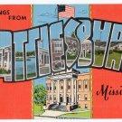HATTIESBURG, Mississippi large letter linen postcard Kropp