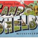 CAMP SHELBY, Mississippi large letter linen postcard Kropp