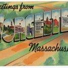 WORCESTER, Massachusetts large letter linen postcard Colourpicture