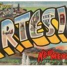 ARTESIA, New Mexico large letter linen postcard Teich