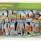 RHODE ISLAND large letter linen postcard Teich