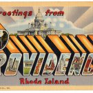 PROVIDENCE, Rhode Island large letter linen postcard Teich