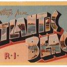 ATLANTIC BEACH, Rhode Island large letter linen postcard Dexter
