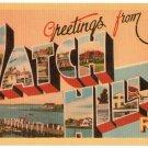 WATCH HILL, Rhode Island large letter linen postcard Dexter