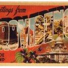 PROVIDENCE, Rhode Island large letter linen postcard Dexter