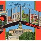 COLUMBIA, South Carolina large letter linen postcard Kropp