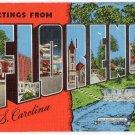 FLORENCE, South Carolina large letter linen postcard Kropp