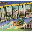 GAFFNEY, South Carolina large letter linen postcard Teich
