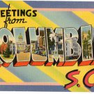 COLUMBIA, South Carolina large letter linen postcard Tichnor