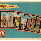 KNOXVILLE, Tennessee large letter linen postcard Dexter