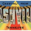 NASHVILLE, Tennessee large letter linen postcard Tichnor