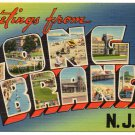 LONG BRACH, New Jersey large letter linen postcard Tichnor