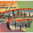 ATLANTIC CITY, New Jersey large letter linen postcard MWM