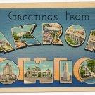 AKRON, Ohio large letter linen postcard Tichnor