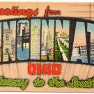 CINCINNATI, Ohio large letter linen postcard Metropolitan