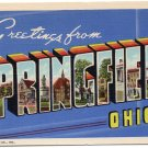 SPRINGFIELD, Ohio large letter linen postcard Teich