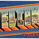 WELCOME, Ohio large letter linen postcard Tichnor