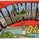 PORTSMOUTH, Ohio large letter linen postcard Kropp