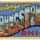 YOUNGSTOWN, Ohio large letter linen postcard Teich