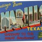 AMARILLO, Texas large letter linen postcard Beals
