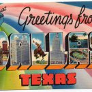 DALLAS, Texas large letter linen postcard Colourpicture