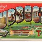 LUBBOCK, Texas large letter linen postcard Teich