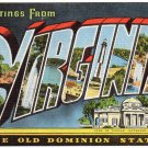 VIRGINIA large letter linen postcard Kropp