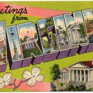 VIRGINIA large letter linen postcard Colourpicture