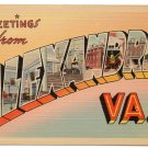 ALEXANDRIA, Virginia large letter linen postcard Tichnor