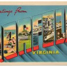 NORFOLK, Virginia large letter linen postcard Metropolitan