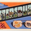 PETERSBURG, Virginia large letter linen postcard Teich
