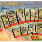 VIRGINIA BEACH, Virginia large letter linen postcard Tichnor