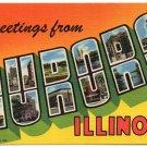 AURORA, Illinois large letter linen postcard Teich
