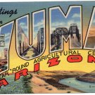 YUMA, Arizona large letter linen postcard Teich