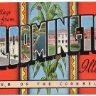 BLOOMINGTON, Illinois large letter linen postcard Kropp