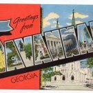 SAVANNAH, Georgia large letter linen postcard Kropp