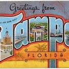 TAMPA, Florida large letter linen postcard Kropp