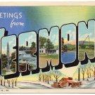 VERMONT large letter linen postcard Teich
