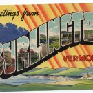 BURLINGTON, Vermont large letter linen postcard Colourpicture