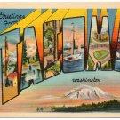 TACOMA, Washington large letter linen postcard Metropolitan