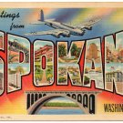 SPOKANE, Washington large letter linen postcard Teich