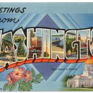 WASHINGTON large letter linen postcard Tichnor