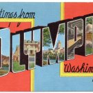 OLYMPIA, Washington large letter linen postcard Kropp