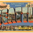 SEATTLE, Washington large letter linen postcard Teich