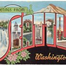SEATTLE, Washington large letter linen postcard Kropp