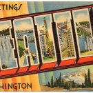 SEATTLE, Washington large letter linen postcard Tichnor