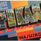 SPOKANE, Washington large letter linen postcard Tichnor