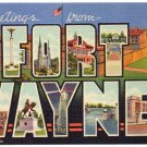 FORT WAYNE, Indiana large letter linen postcard Teich