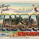 WAUSAU, Wisconsin large letter linen postcard Teich